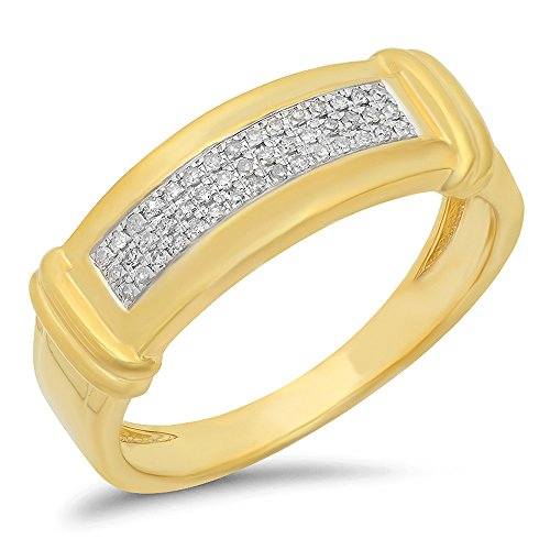 0.15 Carat (Ctw) 10K Yellow Gold Round White Diamond Men's Micro Pave Hip Hop Wedding Band (Size 13) by DazzlingRock Collection