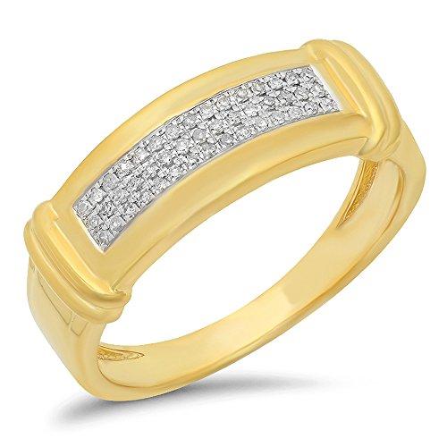 0.15 Carat (Ctw) 10K Yellow Gold Round White Diamond Men's Micro Pave Hip Hop Wedding Band (Size 13) by DazzlingRock Collection