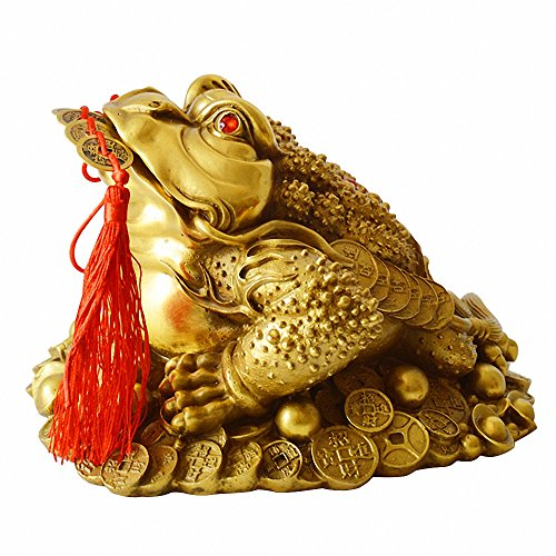 Brass Feng Shui Money Frog (Three Legged Wealth Frog or Money Toad) Statue + Set of 5 Lucky Charm Ancient Coins on Red String,Feng Shui Decor ()