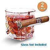 Boravis Cigar Glass Holder, 2 Pack Whiskey Glass Cigar Holder,Specially Designed for Whiskey