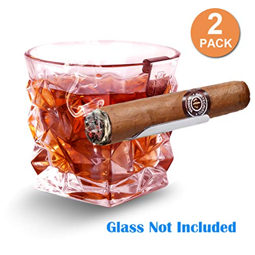 Price comparison product image Boravis Cigar Glass Holder,  2 Pack Whiskey Glass Cigar Holder, Specially Designed for Whiskey & Cigar Lovers