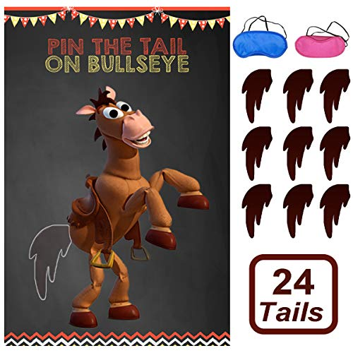Toy Inspired Story Party Supplies, Pin The Tail On Bullseye Party Game Large Poster 24PCS Reusable Tails Sticker for Kids Boys Birthday Party (Party Toy Games Story)