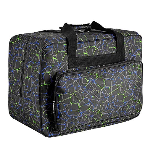 (Sewing Machine Carrying Case Tote Bag,Padded Storage Cover Carrying Case with Pockets and Handles ,Canvas (Black))