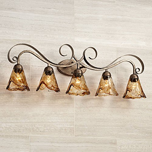 Amber Scroll Wall Light Bronze 37 1 4 Art Glass Fixture for Bathroom Over Mirror Bedroom – Franklin Iron Works