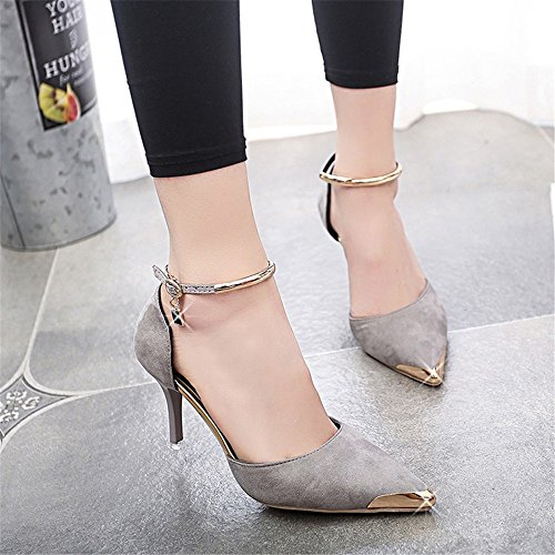 HXVU56546 Durante La Primavera Y El Otoño Luz De Punta Fina Chino Con Tacones Altos Fiesta Nupcial Zapatos Zapatos De Mujer Light gray