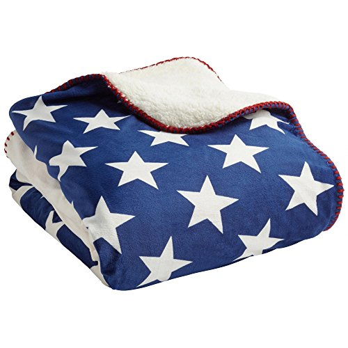 Nantucket Home Old Glory American Flag Mink Sherpa Throw Blanket, 50-Inch x 60-Inch