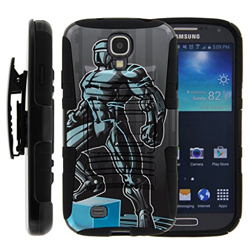 TurtleArmor | Compatible for Samsung Galaxy S4 Case | I9500 [Hyper Shock] Armor Rugged Solid Hybrid Cover Kickstand Impact Silicone Belt Clip Holster Robot Android Design - Android Man by TurtleArmor