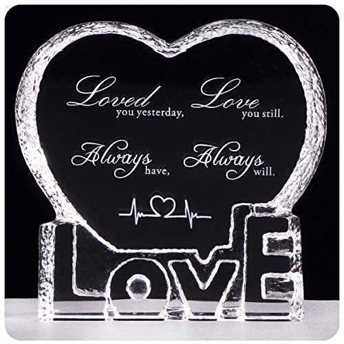 YWHL Custom Wedding Anniversary Sculpture - Perfect Personalized Crystal Couple Gift for Him Husband Boyfriend Her Wife Girlfriend Valentine's ()