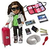 Doll Travel Suitcase with Accessories - Travel Set for 18 inch Dolls with Travel Pillow, Passport and accessories