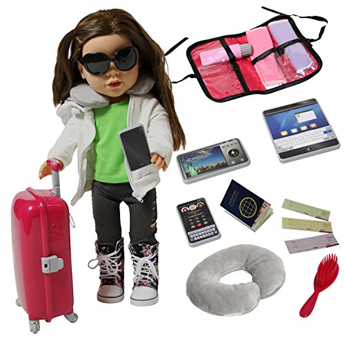 Doll Travel Suitcase with Open and Close Carry on Luggage, Ticket, Passport and 12 Accessories – Travel Set for 18 Inch Dolls