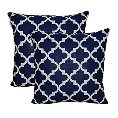 TreeWool, Cotton Canvas Trellis Accent Decorative Throw Pillowcases (Pack of 2 Cushion Covers; 18 x 18 Inches; Navy & Grey)