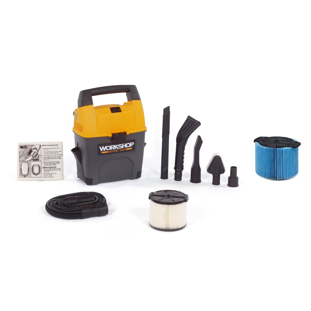 WORKSHOP Wet/Dry Vacs WS0301VA Portable Wet Dry Shop Vacuum for Auto with Fine Dust Filter