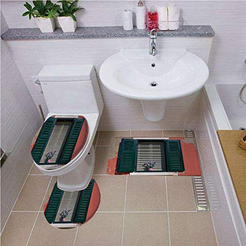 Toilet carpet floor mat,Shutters Decor,Old Italian Stone House with Medieval Style Shutters and Colorful Flowers Image,Red Green Grey ,Bath mat set Round-Shaped Toilet Mat Area Rug Toilet Lid Covers 3