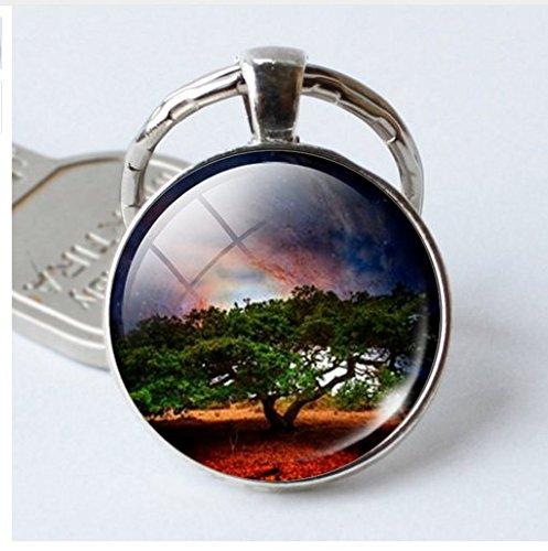 Tree of Lifeガラスカボションペンダントキーリングクリスマスギフト友人Keychains B076JCCQTH