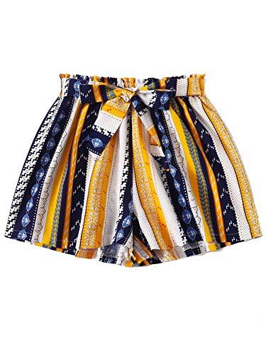 Milumia Women Boho Shorts Elastic Waist Loose Fit Casual Belted Wide Leg Shorts