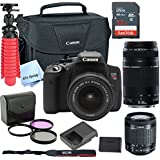 Canon T6i Digital SLR Camera Kit with EF-S 18-55mm and EF 75-300mm Zoom Lenses (Black) with Free SanDisk Ultra 32GB SDHC Card
