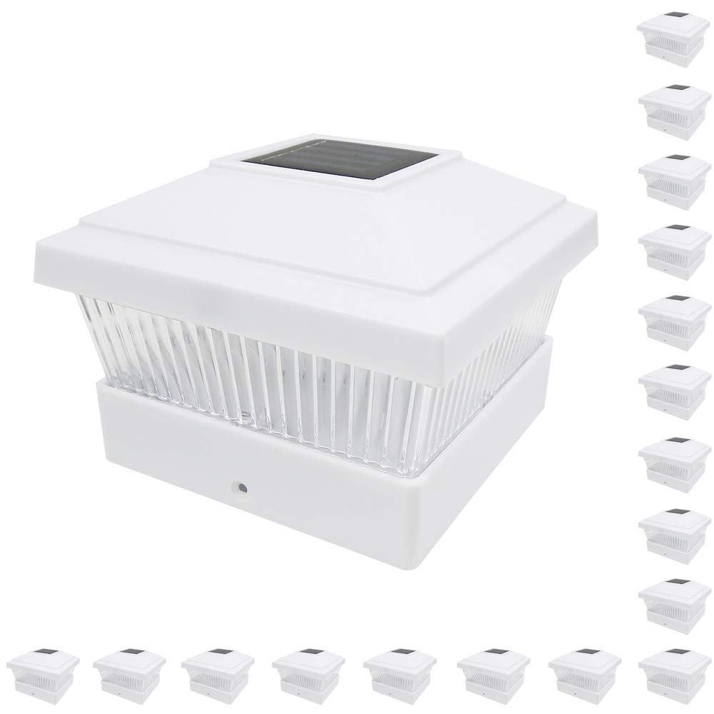 iGlow 18 Pack White Outdoor Garden 5 x 5 Solar LED Post Deck Cap Square Fence Light Landscape Lamp Lawn PVC Vinyl Wood