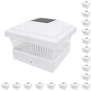 iGlow 18 Pack White Outdoor Garden 5 x 5 Solar LED Post Deck Cap Square Fence Light Landscape Lamp Lawn PVC Vinyl Wood