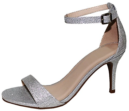 Cambridge Select Women's Open Toe Single Band Buckled Ankle Strap Stiletto High Heel Sandal,9 B(M) US,Silver