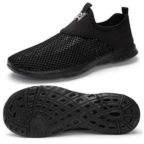 eyeones Mens Womens Lightweight Quick Drying Mesh Aqua Slip-on Water Shoes,Black/Black-586xi,41 M EU / 8 D (M) US