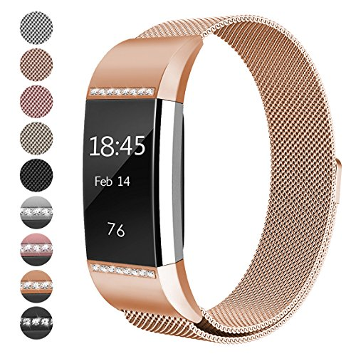For Fitbit Charge 2 Bands, hooroor Milanese Stainless Steel Metal Strap with Unique Magnet Lock Replacement Band for Fitbit Charge 2 (1 Pack Rose Gold Band with White Diamond, Small - Burch Rose
