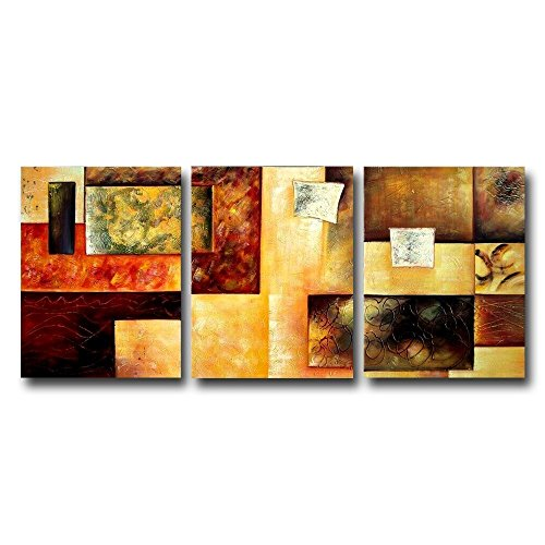 FLY SPRAY 3-Piece Hand-Painted Brown Oil Paintings Canvas Wall Art Geometric Patterns Panels Stretched Framed Ready Hang Line Square Rectangle Color Blocks Modern Abstract Living Room Bedroom Office by FLY SPRAY