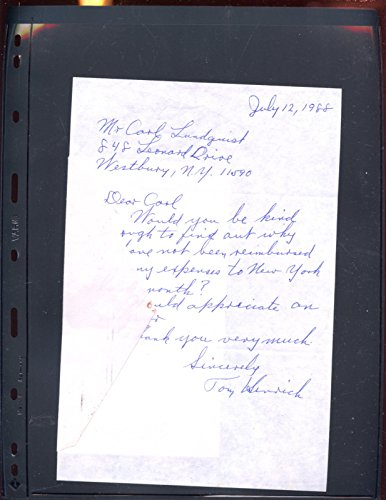 (July 12 1988 Handwritten Letter Signed By Tom Henrich Hologram)