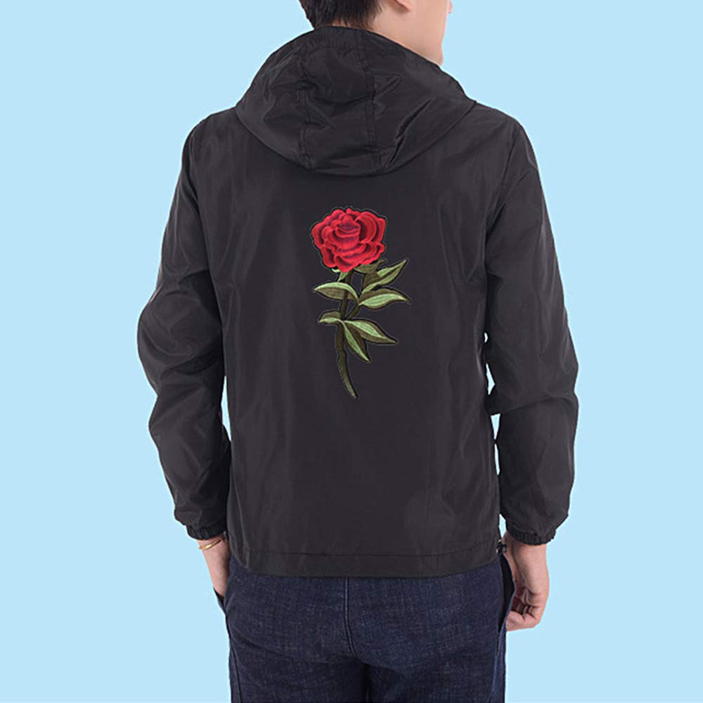 ZOXO Mens Rose Floral Windbreaker Hooded Jacket Lightweight Casual Zip-up Flower Coat at Amazon Mens Clothing store: