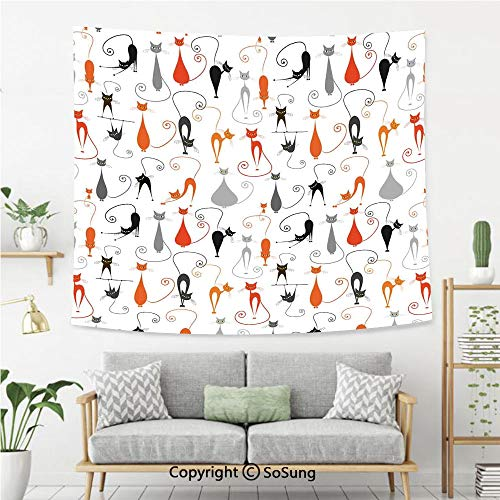SoSung Cat Wall Tapestry,Colorful Cats in Different Poses Pussycat Domestic Friends Companions Modern Illustration,Bedroom Living Room Dorm Wall Hanging,60X50 Inches,Multi