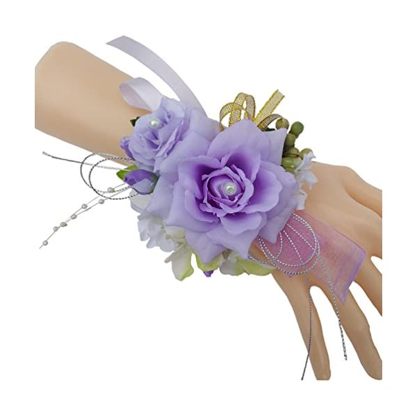 Steen pack of 1- Bridesmaid Bridal Wrist Corsage Wedding Party Artificial Flower – Hand Flower Decor