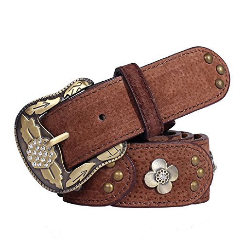 Studded Vintage Jeans - Qinlee Womens Leather Belt Flower Vintage Studded Casual Jean Belt Adjustable Leather Casual Belt Medieval Style Buckle Belt For Jeans Dress 1.5