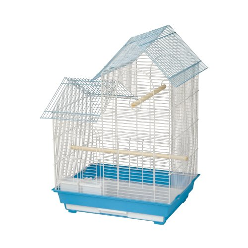 Kings Cages ES 2016 H house top bird cage toy toys Finches Lovebirds Canaries (BLUE/WHITE) by King's Cages (Image #1)