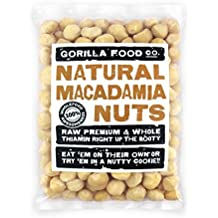 Gorilla Food Co. Raw Macadamia Nuts Whole (New Hawaiian Crop - Style 1) Unsalted - 8oz Resealable Bag