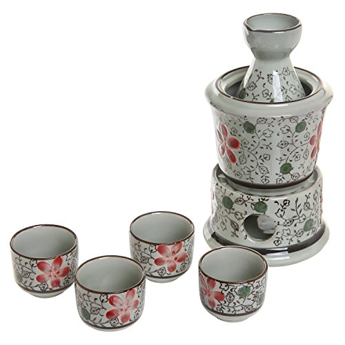 Exquisite Ceramic Red Flowers Japanese Sake Set w/ 4 Shot Glass / Cups, Serving Carafe & Warmer Bowl