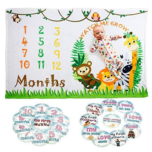 Baby Milestone Blanket Boys/Girls   Large (60 x 40) Premium Fleece Super Soft Material   Photography Background Set for Boys/Girls   Perfect Baby Shower Gift   Bonus Milestone Sticker Set