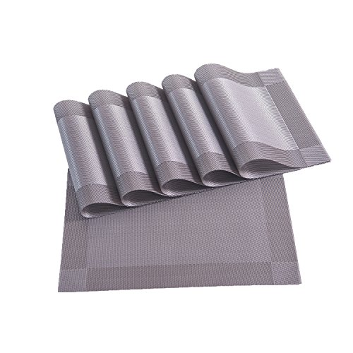 Placemats,Placemats for Dining Table,Heat-resistant Placemats, Stain Resistant Washable PVC Table Mats,Kitchen Table mats,Sets of 6 ( 3:SILVER)