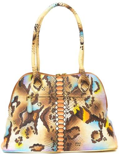 Zimbelmann Damen Schultertasche / Handtasche aus echtem Leder - Nappaleder - handbemalt - Clara