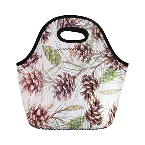 Tinmun Lunch Tote Bag Green Berry Watercolor Christmas Fir Tree Pattern Cone Branch Reusable Neoprene Bags Insulated Thermal Picnic Handbag for Women Men ()