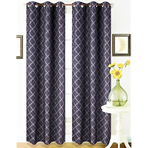 Gorgeous K22 1 PC Two Tone Geometric Modern Printed Design Heavy Thick Thermal Insulated Foam Backing Blackout Window Curtain Drape Panel 63 84 95 108