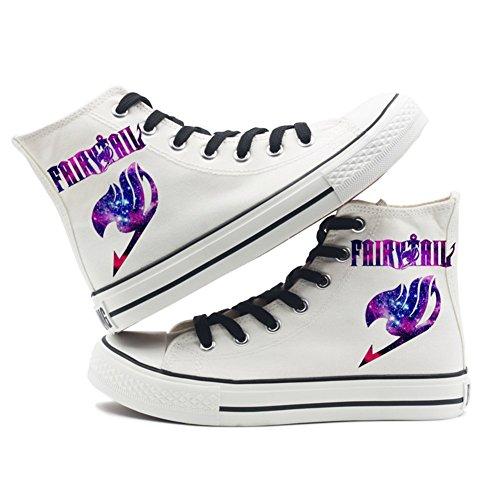 Fairy Tail Anime Logo Leinwand Schuhe Cosplay Schuhe Turnschuhe Schwarz / Weiß Weiß 1