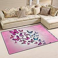 LORVIES Pink Butterflies Area Rug Carpet Non-Slip Floor Mat Doormats Living Room Bedroom 60 x 39 inches