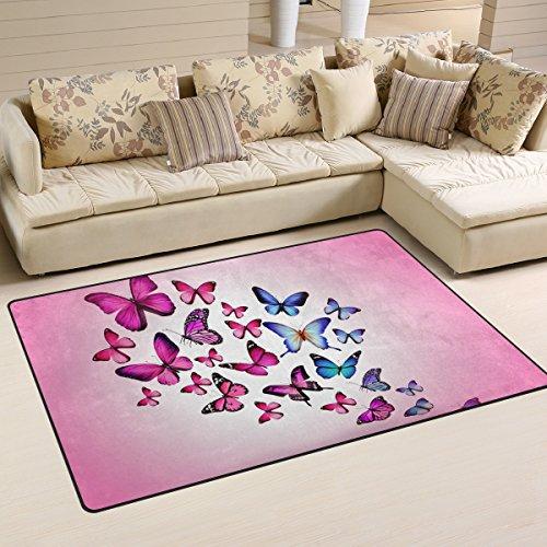 LORVIES Pink Butterflies Area Rug Carpet Non-Slip Floor Mat Doormats Living Room Bedroom 60 x 39 inches]()