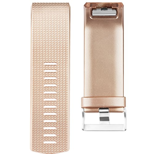 Amzpas Bands Compatible with Fitbit Charge 2 Bands Small Large Adjustable Replacement Accessories Wristbands for Women Men (Rose Gold & Champagne & Black, Small)