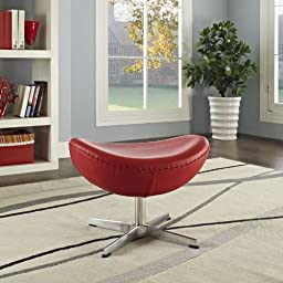 Modway Glove Leather Ottoman in Red