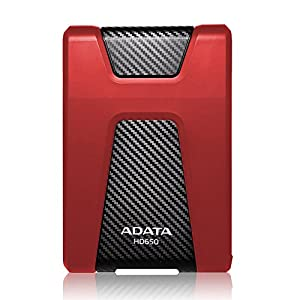 ADATA HD650 1TB Anti-Shock External Hard Drive, Red (AHD650-1TU3-CRD)