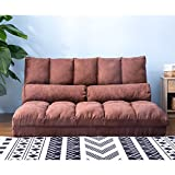 Double Chaise Lounge Sofa Chair Floor Couch with Two Pillows (Brown)