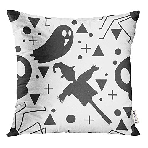 Emvency Throw Pillow Cover Print 16 x 16 Inch Square Zipper Baby Halloween Ghost and The Scarecrow Childish for Festive Cartoon Polyester Home Sofa Decorative Case -