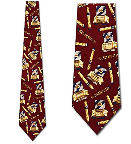 Cigars Ties Smoke Neckties Maroon Tie Mens Necktie ()