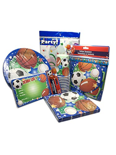 Sports Theme 6 Piece Party Supply Kit for 8 Guests- Includes Plates, Cups, Napkins, Table Cloth, Party Banner and Invitations