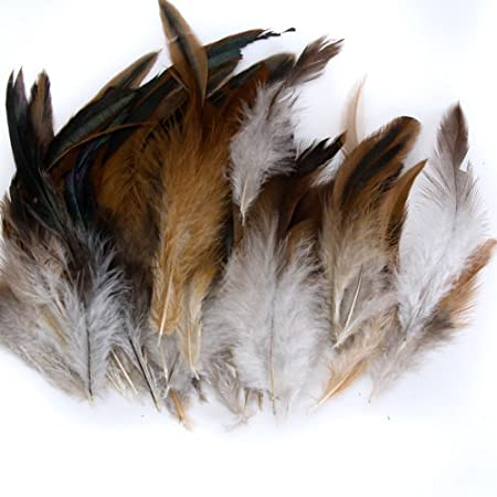 """6/"""" UK Seller. FEATHERS 10 x 2 Tone NATURAL Duck Feathers Approx 4/"""""""